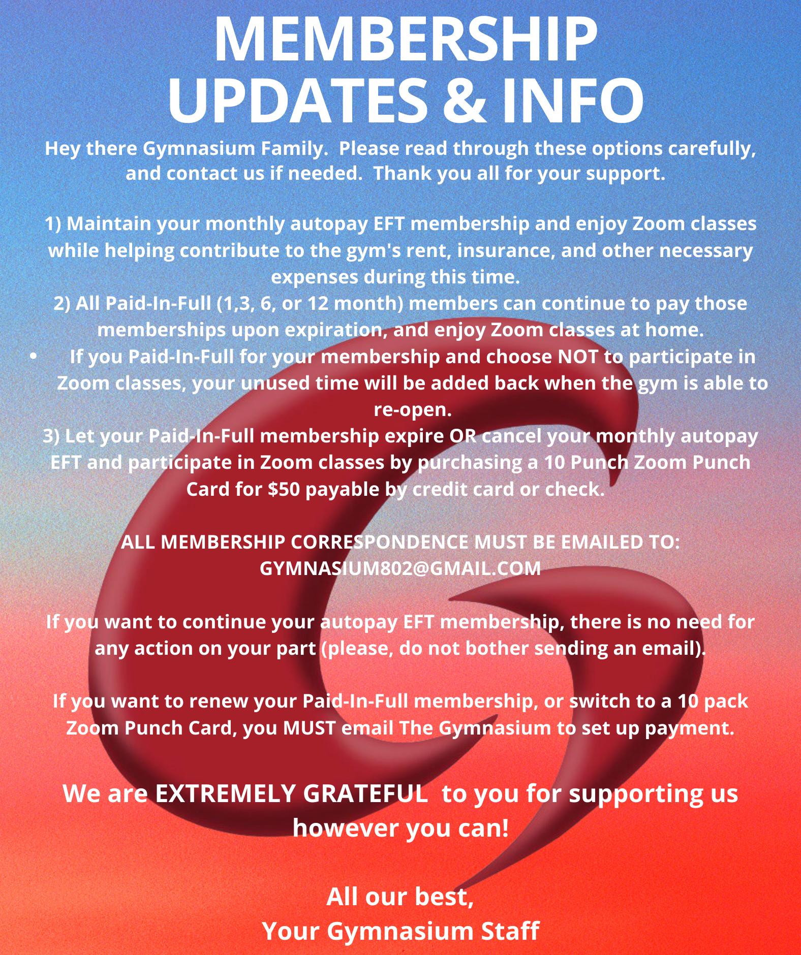 Membership Updates & Info