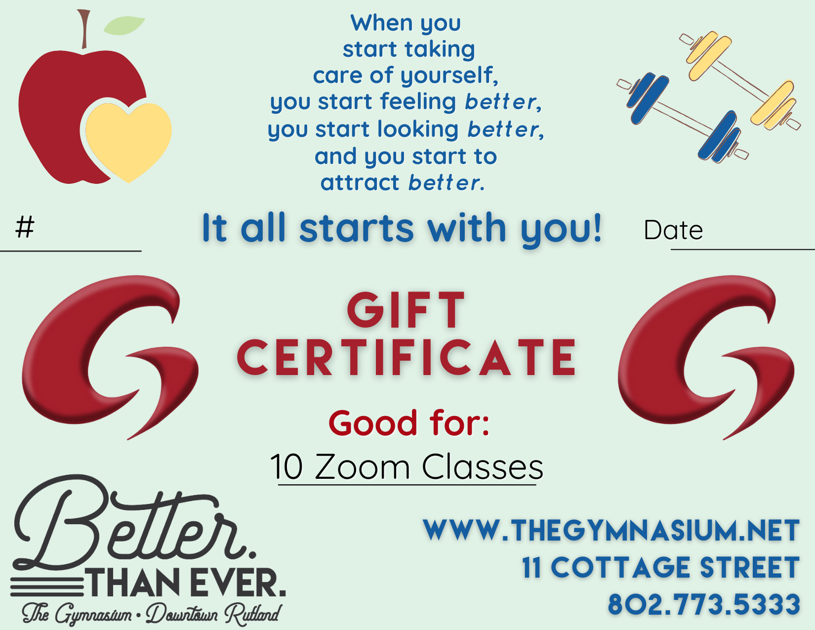 Gym Zoom Gift Cert