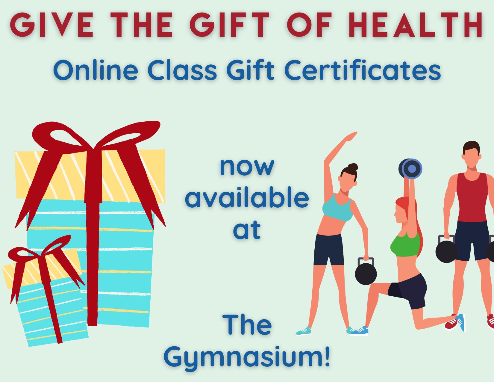 Gym Zoom Gift of Health Cert Info